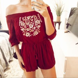 Abercrombie + Fitch maroon Embriodered romper